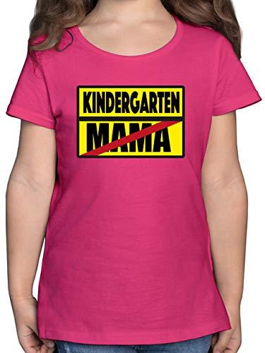 Kindergarten - Kindergarten Schild Mama - 140 (9/11 Jahre) - Fuchsia - Verbotsschild - F131K - Mädchen Kinder T-Shirt