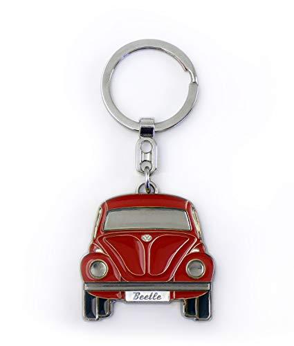 Brisa VW Collection - Volkswagen Escarabajo Coche Beetle Llavero Vintage en una Caja de Regalo, Anillo de Llavero Retro, Accesorios del Coche como Idea de Regalo/Souvenir (Frente/Rojo)