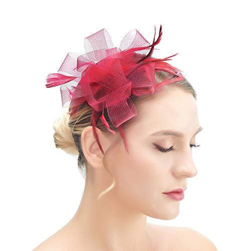 SACASUSA Fascinator Feather Mesh Gauze Cocktail Hat Headwear Hair Clip
