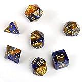 GWHOLE 7 Pezzi Dadi Poliedrici per Giochi di Ruolo con Giochi da Tavolo Dungeons And Dragons con Sacchetto Nero, Giallo Blu