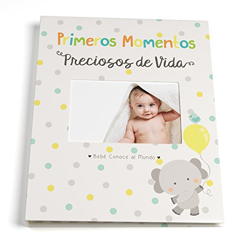 Spanish Baby Memory Book for First Five Years, Record Your Child's Development en Español, Keepsake Journal For Boys and Girls, Modern Photo Album and Baby Shower Guestbook, 9 x 11.5 Inch Cover