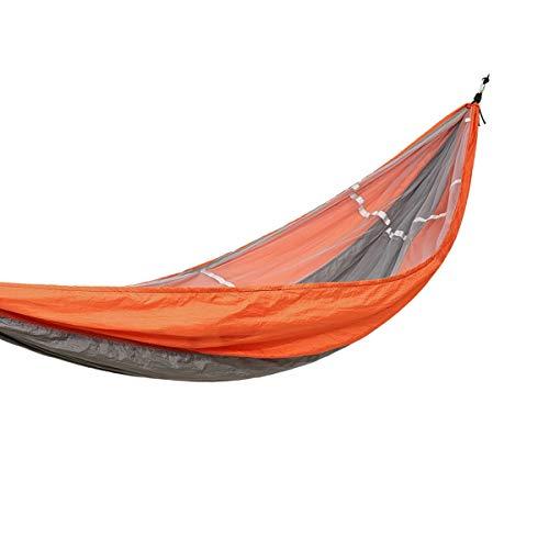 8hawoenju Doppel-Camping-Hängematte - Leichte tragbare Nylon-Hängematte, Bester Fallschirm-Rucksack für Hängematten, Camping, Reisen, Strand, Hof (mit Moskitonetz), Orange (Color : Orange)