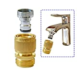 HQMPC Faucet to Hose Adapter Kitchen Snap Coupling Adapter Washing Machine Quick Connect Dishwasher Snap Coupling Adapter,Chrome Nipple Male 15/16-27 or Female 55/64-27 to Male 3/4' GHT Quick Coupler