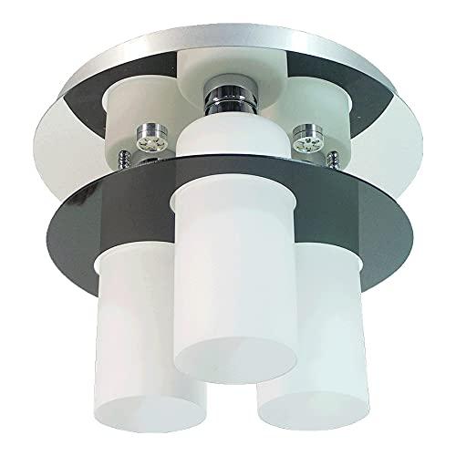 Lámpara de techo MACAO 3 x E27 / 60 W + 3 x LED 3 W, plateado/opalino, diámetro 40 x 31 cm, casquillo E27