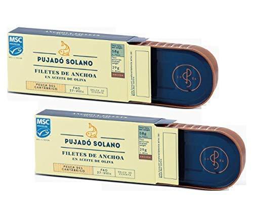 Pujado Solano Filetti di Acciughe del Cantabrico in Olio di Oliva Esclusiva Conserva Ittica - 2 x 50 Grammi (Peso sgocciolato 2 x 29 Grammi)