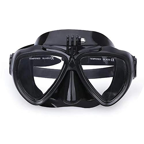 MxZas Maschera Subacquea Diving Silicone Vetro con Staccabile Montaggio Telecamera Subacquea Scuba Snorkel Occhialini da Nuoto (Color : Black, Size : One Size)
