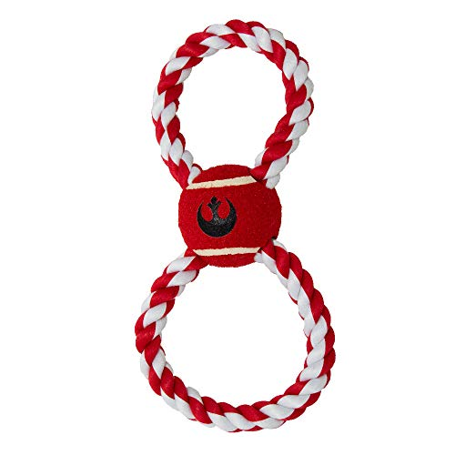 Buckle-Down Dog Toy, Rope Tennis Ball Star Wars Rebel Alliance Insignia Red Gray