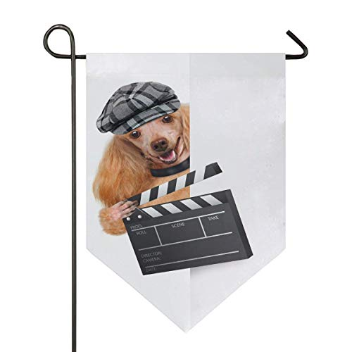 jenny-shop Movie Clapper Board Director Hundegarten Flagge Lustiger magischer Tierwelpe doppelseitig 12,5 x 18 Zoll