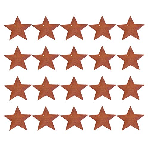 Healifty 150pcs Rusty Mini Metal Barn Star Primitive Rusty Tin Stars for Home Weddings Decor Crafting