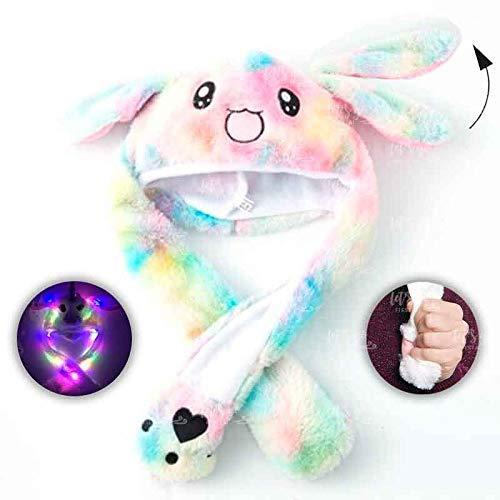 Gorro Conejo Rainbow Peluche con Orejas Que se mueven y luz