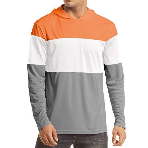 EKLENTSON Herren Langarm-Joggingshirts Watersport-Shirts Kapuzenpullover Hoodie, Grau