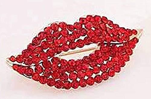 ookmngft Lady Brosche Brosche Zubehör Star Snowflake Fashion Beauty New Damen Pin Brosche Blumenmädchen Konventionelle Wassermelone Red (B19) Red Lips