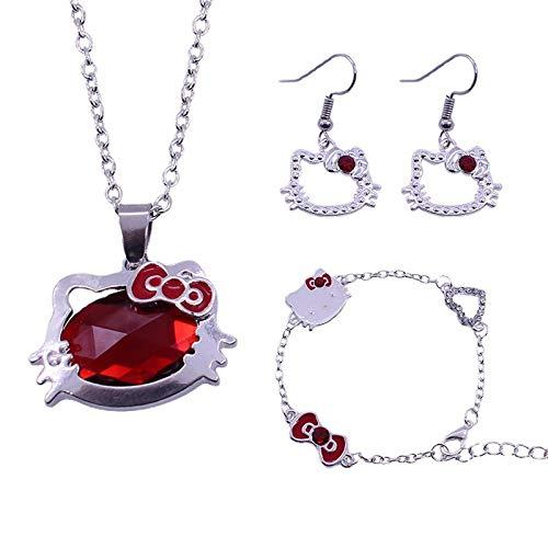 Jewelry Set Necklace Bracelet Earrings Three-Piece Fashion Cute Cartoon Alloy Girl