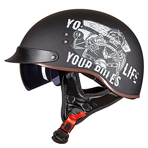 Cascos Moto Half-Helmet ECE Homologado con Visera Abierto Medio Casco e Motocicleta...