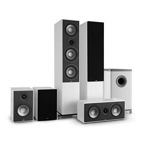 NUMAN Reference 851 Surround Sound System 5.1 (Home Cinema, Altavoz de pie, subwoofer Activo, 2X Altavoz de estantería, Altavoz Central) - Blanco con Cubierta Negra