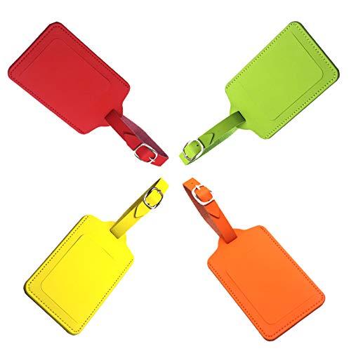 4 Stück-Kofferanhänger PU-Karte mit Namensschild Adresse Tag Koffer Tags mit Namensschild Adressschild Gepäckanhänger aus, Reise Gepäckanhänger Taschenanhänger Luggage Tag (7cm x 11cm)