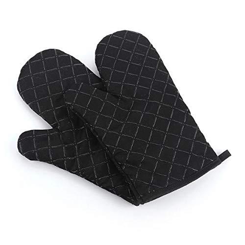 2 manoplas de cocina con guantes de algodón de silicona antideslizante impresos, 1 par de herramientas resistentes al calor para hornear (Negro)