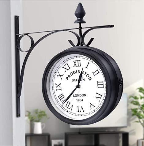 Reloj de Doble Cara Jardín Tren Estación Reloj de Pared, Reloj de Pared Retro de Doble Cara jardín decoración del hogar...
