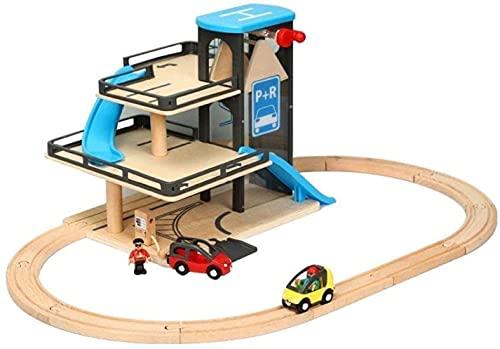 Sistema de pista pequeña simulación de madera elevación helicóptero estacionamiento de helicóptero de juguete de coches Puzzle para niños Mejor regalo Slot Cars Race Pistas y accesorios Toy Children's
