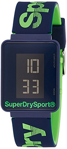 Superdry Unisex Erwachsene Digital Quarz Uhr mit Silikon Armband SYG204UN
