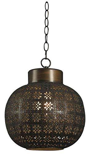Kenroy Home 92055ABR 92055ABR - Colgante transitorio de una luz de la colección Sevilla en latón envejecido, 25,4 cm, bronce envejecido