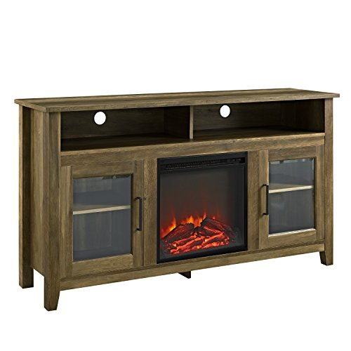 "Walker Edison Rustic Wood and Glass Tall Fireplace TV Stand for TV's up to 64""Flat Screen Living Room Storage Cabinet Doors and Shelves Entertainment Center Reclaimed Barnwood58 Inch"