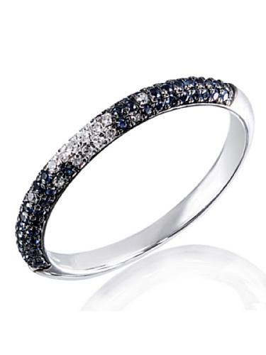 Goldmaid Damen-Ring 14 Karat 585 Weißgold Sternenhimmel 20 Diamanten SI/H 0,11 ct. 58 blaue Saphire Gr. 56 (17.8) Verlobungsring Diamantring