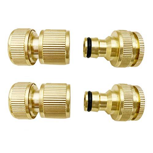 BluVast Schlauchanschluss, Messing Schlauchanschluss, 4 Stück Gartenschlauchanschluss 1/2 Zoll und 3/4 Zoll Größe 2-in-1 und 1/2 Zoll Schlauchverbinder