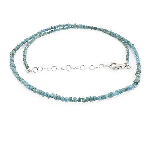 Halskette mit blauem Diamant, raue Diamant-Halskette, natürliche blaue Diamanten, Rohdiamanten, natürliche raue Perlen