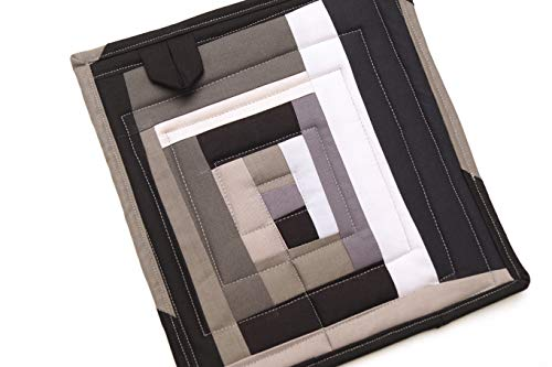 Black and Gray Quilted Fabric Patchwork Pot Holder