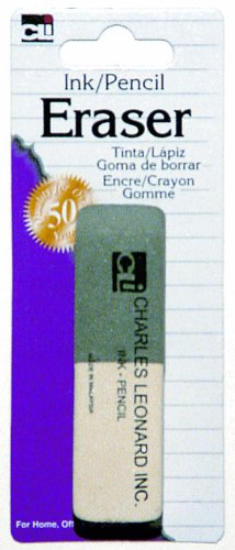 Charles Leonard 2 Sided Ink and Pencil Eraser, Gray/White (80795)
