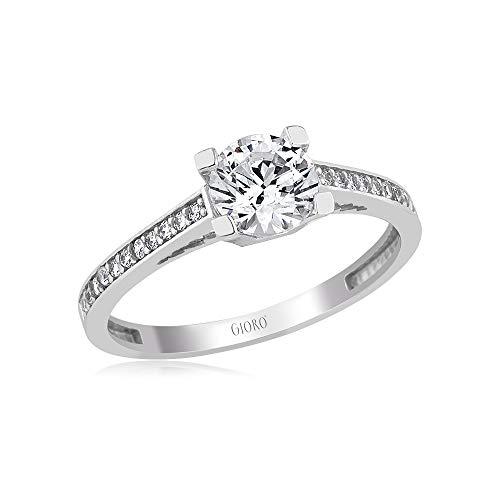 GIORO Anna Damen-Ring Verlobungsring in 585 Weißgold mit Swarovski Kristallen (56 (17.8))