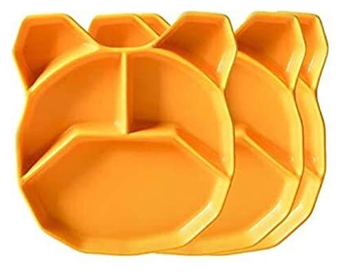 LBBZJM Placa de Cena Placa de Postre Porcelana 3 Paquete Cerámica Placa Dividida Placa Cena Placas Niños Lindo Todos los días Comedor Almuerzo Placas Lavavajillas Caja Fuerte (Color : Yellow)