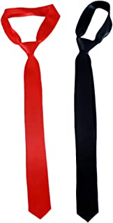 KESYOO 2pcs Solid Polyester Textile Neckties Black Red Neck Ties Mens Business Ties Formal Necktie for Man Male School Uni...