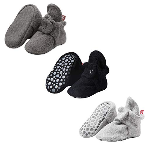 Zutano Cozie Fleece Baby Booties, Unisex Baby Shoes for Infants and Toddlers, 12M, Gray/Black/Heather Gray
