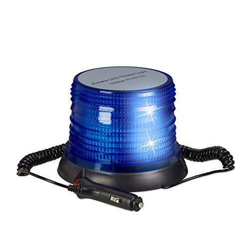Relaxdays Luz Sirena Policía para Coche con Base Magnética, 10-30 V, Azul, 12 x 16,5 cm