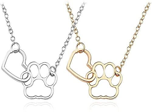 NC122 Colgante, Collar, Hueco, Amor, corazón, Garra de Perro, Simple, Metal, Huella de Mascota, Gargantilla, joyería de Mujer