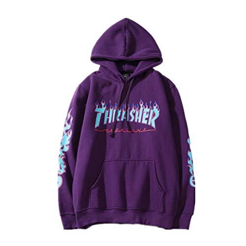 Fashion Flame Print Plus Velvet Pullover Hoodie for Men/Women