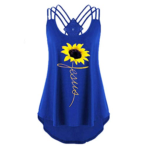WOCACHI Tank Tops for Womens, Women's Women's V-Neck Sleeveless Print Cross Vest Pullover Shirt Shirt Side Thong Sets Classic Pure Solid Color Sexy Ribbed Tops Shirts Sports Blue