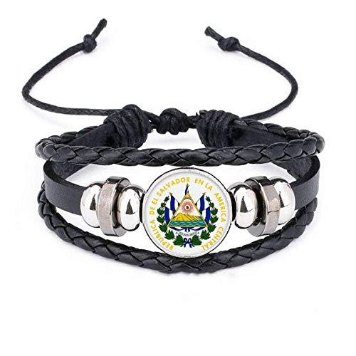 DIYthinker San Salvador El Salvador National Emblem Bracelet Braided Leather Rope Bead Wristband