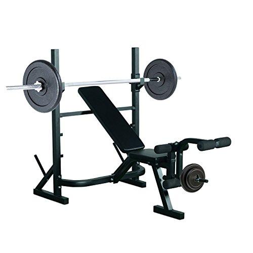 HOMCOM Banco de Pesas Entrenamiento de Musculación Fitness con Respaldo Regulable 175x98x130cm Color Negro