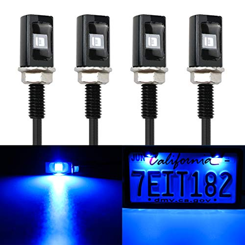 LivTee Super Bright 12V Waterproof Tag Screw Bolt License Plate LED Lights Holder Legal for Car Motorcycle Truck RV ATV Bike, Blue(4PCS)