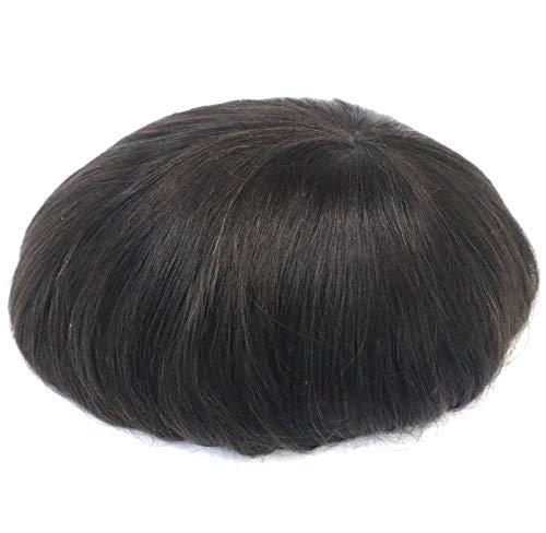 Unidad de reemplazo de pelo para hombre, súper natural, pelo sedoso, pelo humano real, inyección de polipiel, pelo recto natural, peluca masculina, sistema de pelo de corona central #1B