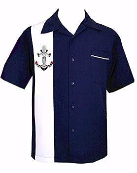 Vintage Tattoo Anchor Classic 50 s Button Down Navy RockabillyShirt ~ Sailor