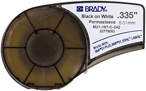 """Brady Official (M21-187-C-342) PermaSleeve Heat-Shrink Polyolefin Wire Marking Sleeves, Black on White - Designed for BMP21-PLUS, BMP21, ID PAL, and LABPAL Printers - 7' Length, 0.335"""" Width"""