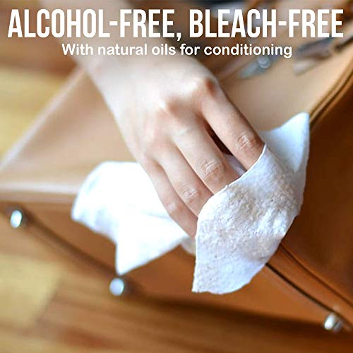 JJ CARE [Pack of 40] Leather Wipes for Car Seats, Leather Cleaning Wipes + Free Microfiber Cloth, Leather Car Seat Cleaner, Leather Wipes for Couch, Car Interior, Furniture, Shoes and Purses