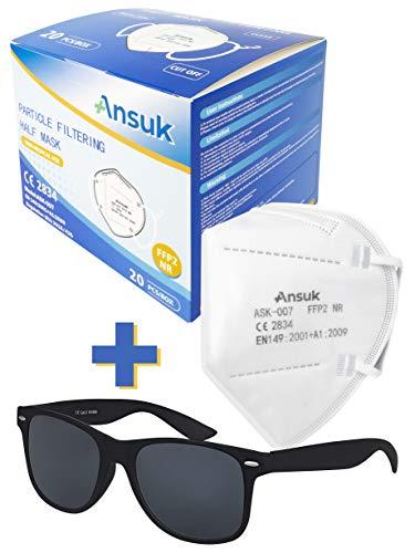 Set mit Ansuk 40 Stück FFP2 Atemschutzmasken | Schutzmaske | Mundschutzmaske 5-lagig EU CE Zertifiziert von offizieller Stelle CE2834 - EN 149:2001+A1:2009 + 1x Original Balinco Nerd Sonnenbrille