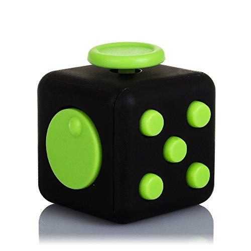 DAM - DMV094zwartGREEN Fidget Cube anti-stress met 6 ontspannende modules, kleur zwart/groen (DMV094BLACKGREEN).