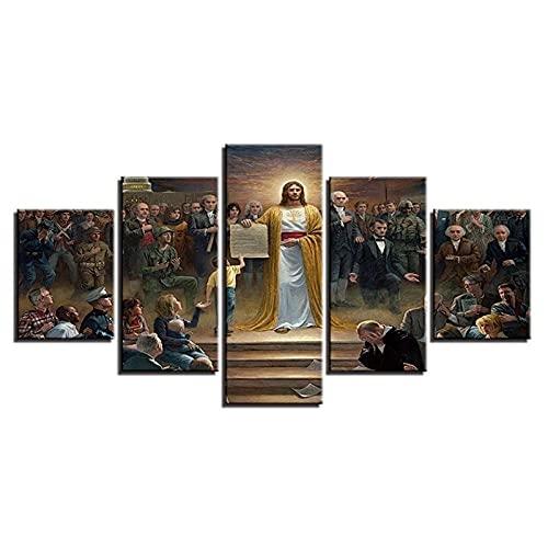 GONGXIANG Cuadros Modernos Impresión De Imagen Artística Digitalizada Lienzo Decorativo para Salón O Dormitorio Jesús Cristiano Estilo Abstracto Arte 5 Piezas 150X80Cm XXL