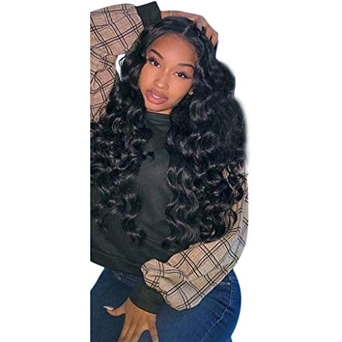 Perruques Afro Cheveux Humains Pour Balck Long Curly Wave Sexy Mode Pas Cher Lace Frontal Postiches Wig Hair (Noir)